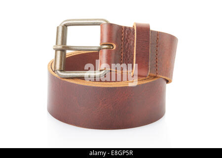 Leather belt isolated on white, clipping path included - Stock Photo