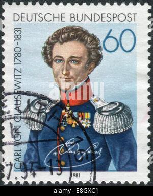 GERMANY - CIRCA 1981: Postage stamp printed in Germany, shows Carl Philipp Gottfried von Clausewitz, circa 1981