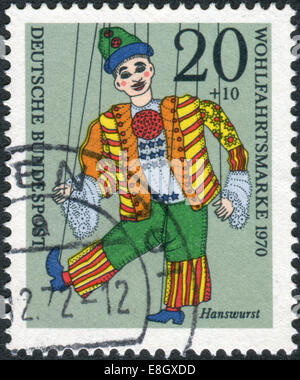 Postage stamp printed in Germany, shows a puppet 'Hanswurst' from the collection of puppet theater in Munich - Stock Photo