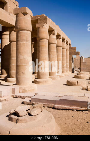 Egypt, Luxor, Ramesseum, Mortuary Temple of Ramses II, columns of Hypostile Hall - Stock Photo