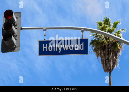 USA, California, Los Angeles, Hollywood, Sign and traffic light - Stock Photo