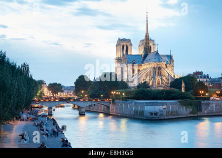 The Cathedral of Notre Dame de Paris, people on docks - Stock Photo