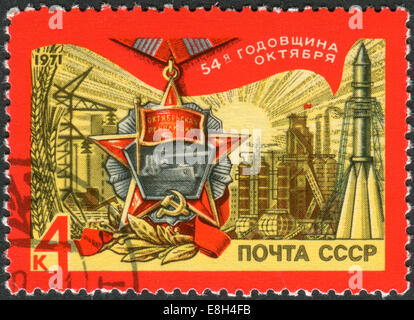 Postage stamp printed in USSR, devoted to 54th Anniversary of Great October Revolution - Stock Photo