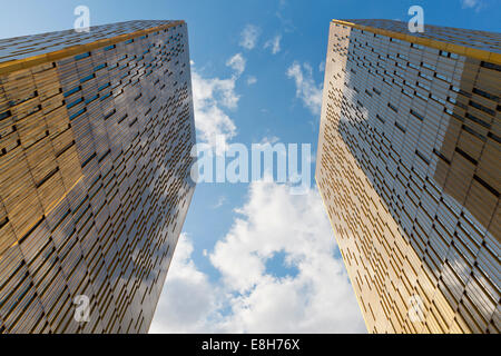 Luxembourg, Luxembourg City, view to twin towers of European Court of Justice from below - Stock Photo