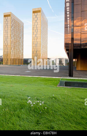 Luxembourg, Luxembourg City, view to twin towers of European Court of Justice - Stock Photo