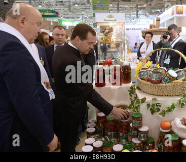 Moscow, Russia. 8th Oct, 2014. Nizhni Novgorod Region's governor Valery Shantsev (L) and Russia's prime minister - Stock Photo