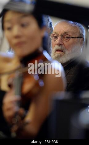Leipzig, Germany. 8th Oct, 2014. Composer Kurt Masur at the musical portion at the opening of the exhibition 'Kurt - Stock Photo