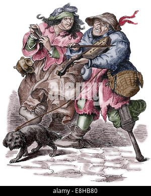 Begging. Musicians. Modern Age. 17th century. Colored engraving. - Stock Photo