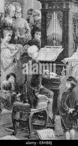 Wolfgang Amadeus Mozart (1756-1791). Composer of the Classical era. Mozat boy playing celesta. Engraving, 1885.