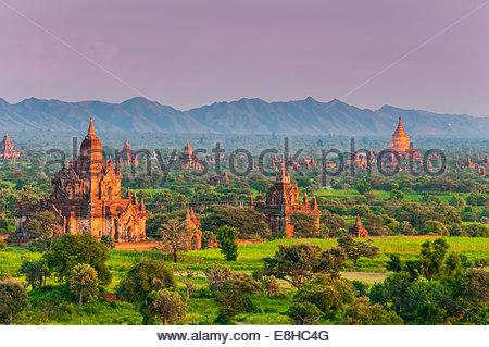 Top view overt the ancient temples and pagodas at sunset, Bagan, Myanmar or Burma - Stock Photo