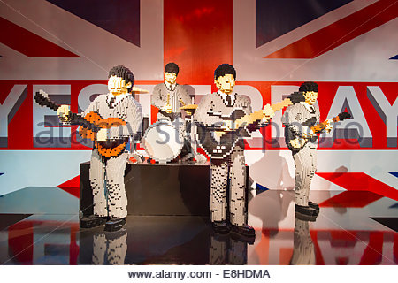The Art of Brick exhibition show, Nathan Sawaya Lego figures sculptures statues modern contemporary The Beatles - Stock Photo