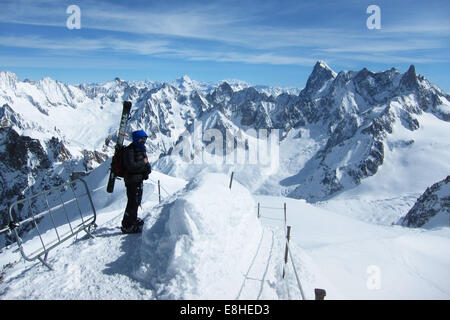 Aiguille du Midi, exit ridge towards the Vallee Blanche and high mountains, Chamonix, France - Stock Photo