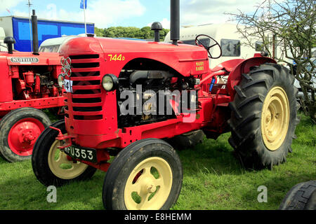 A vintage 1948 Massey Harris 744 PD tractor on display at Cromford Steam Rally, Tansley, Matlock, Derbyshire, England, - Stock Photo