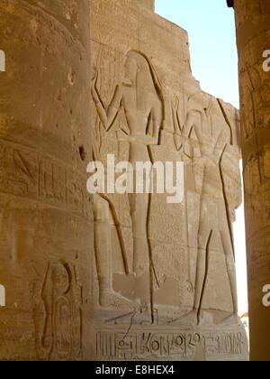Egypt, Luxor, Ramesseum, Mortuary Temple of Ramses II, Bas Reliefs - Stock Photo