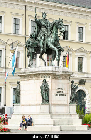 MUNICH, GERMANY - AUGUST 25: Tourists at the Monument of King Ludwig I in Munich, Germany on August 25, 2014. - Stock Photo