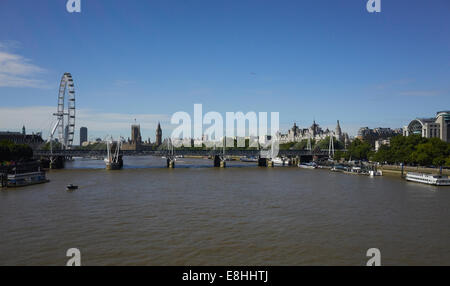 London, the view from Waterloo Bridge looking West - Stock Photo
