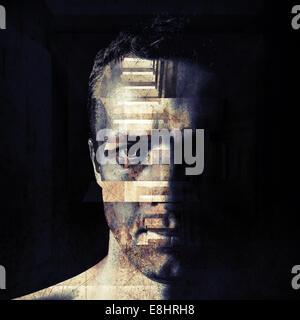 Stylized closeup portrait of grungy bad man, dark moody toned illustration - Stock Photo