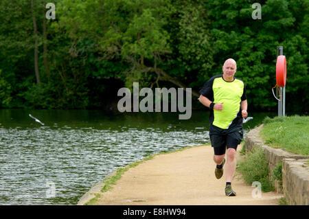 Man jogging on path around Waterloo Lake at Roundhay Park, Leeds, West Yorkshire, UK. - Stock Photo