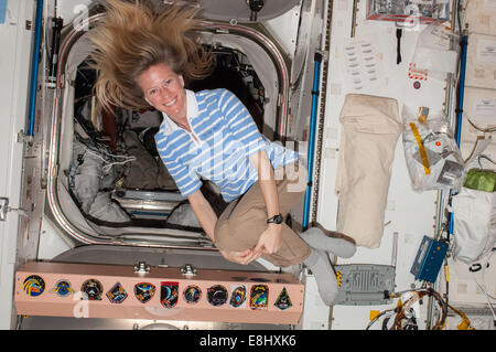 The Unity connecting node serves as a passageway to many other parts of the International Space Station. Crews often - Stock Photo