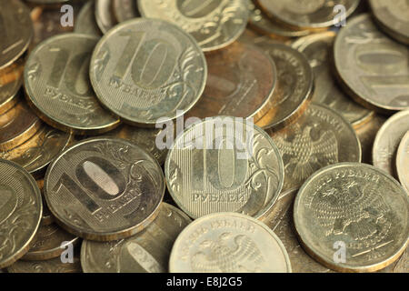 Close-up of Russian coins. Ten rubles background. - Stock Photo