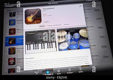 Tambov, Russian Federation - January 20, 2013: GarageBand App in Top Charts of App store on an Apple iPad. - Stock Photo