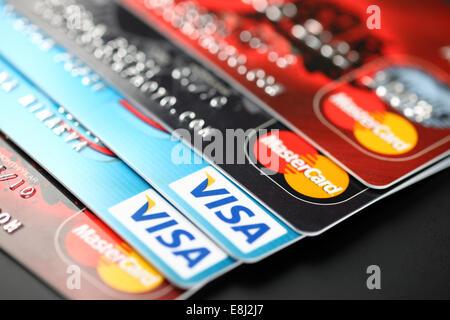 Tambov, Russian Federation - September 11, 2012 Visa and Mastercard logos on credit cards. - Stock Photo