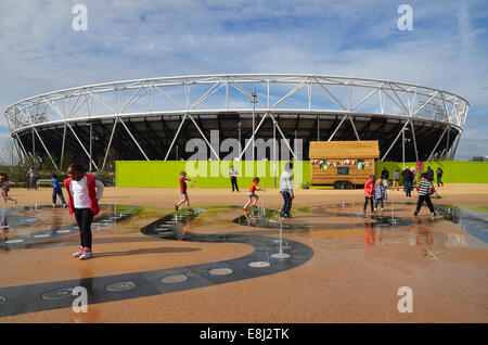 The Olympic park in Stratford which played host to the London 2012 London Olympic Games finally opens its doors - Stock Photo