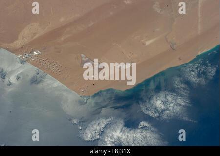 Western Sahara Desert Meets Atlantic Ocean - Stock Photo