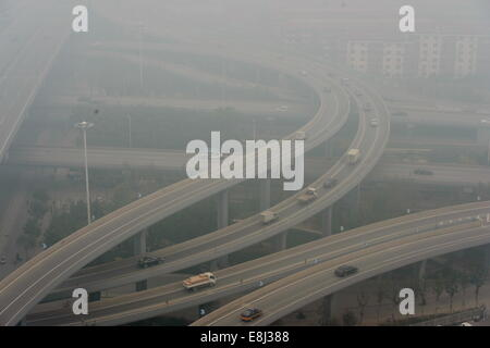 Shijiazhuang, China's Hebei Province. 9th Oct, 2014. Smog shrouds Shijiazhuang, capital of north China's Hebei Province, - Stock Photo