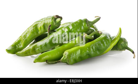 Heap of green pepper isolated on a white background - Stock Photo