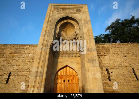 Eastern portal (Murad gate) of Shirvanshah's palace complex (1585) in Baku Old City - Stock Photo