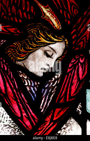 The American church in Paris. Stained glass window.  Angel. - Stock Photo