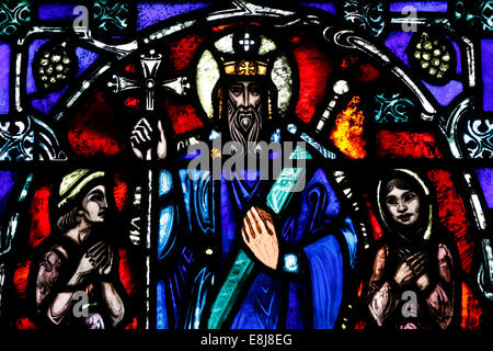 The American church in Paris. Stained glass window. Saint Vladimir. - Stock Photo