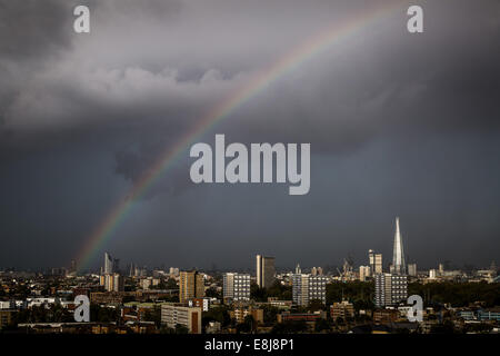 London, UK. 9th Oct, 2014. UK weather. Rainbow over The Shard and Strata SE1 buildings 2014 Credit:  Guy Corbishley/Alamy - Stock Photo