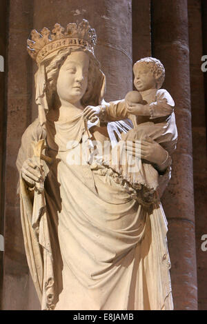 Statue of Our Lady of Paris in Notre Dame de Paris cathedral - Stock Photo