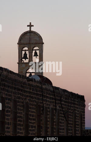 The bells of the church in Tiberias on the shores of Sea of Galilee. Israel. - Stock Photo