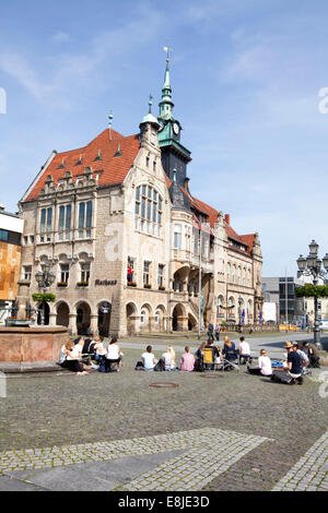 Market Square and Town Hall, Bueckeburg, Lower Saxony, Germany, Europe, - Stock Photo