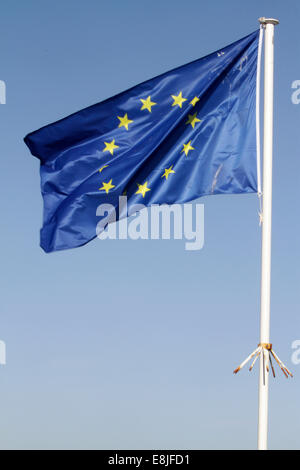 Flag of the European Union and the Council of Europe. - Stock Photo