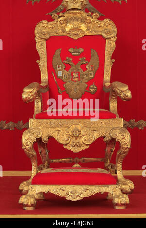 Golden Throne. The throne's room. The St. George Hall. Hermitage Museum. - Stock Photo
