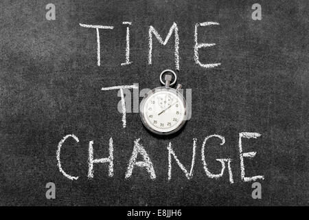 time to change concept handwritten on chalkboard with vintage precise stopwatch used instead of O - Stock Photo