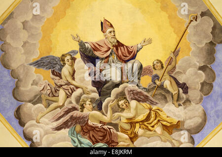 Saint-Nicolas ascends to heaven. Bishop of Myra. St. Nicolas de Veroce church. - Stock Photo