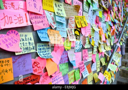 Hong Kong. 9th October, 2014. People's messages of support for the pro-democracy protests are posted on the walls - Stock Photo