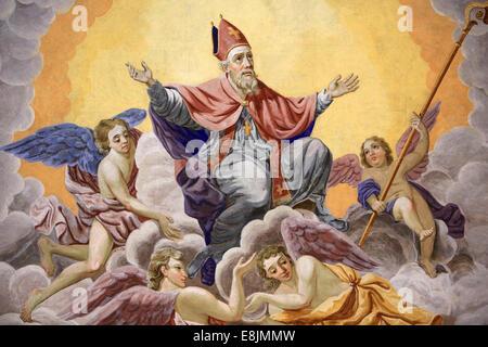 St. Nicolas ascends to heaven. Life of St. Nicolas. Bishop of Myra. St. Nicolas de Veroce church. - Stock Photo