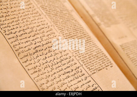 Sisters of Nazareth Convent. Old bible in arabic and latin. - Stock Photo