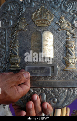 Torah silver shield with the name of the feast or saturday, in this case Kippour - Stock Photo