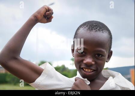 RWANDA, KIGALI: Portrait of a young boy in the capital city - Stock Photo