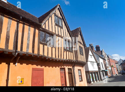 Half timbered medieval historic buildings on Silent Street, Ipswich, Suffolk, England - Stock Photo