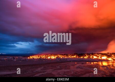 Glowing lava from the eruption at the Holuhraun Fissure, near the Bardarbunga Volcano, Iceland. - Stock Photo
