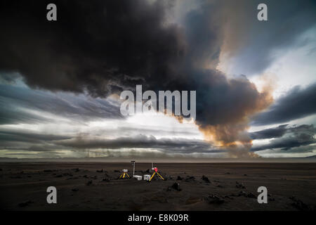 Scientific equipment-Volcanic Plumes with toxic gases, Holuhraun Fissure Eruption, Iceland - Stock Photo