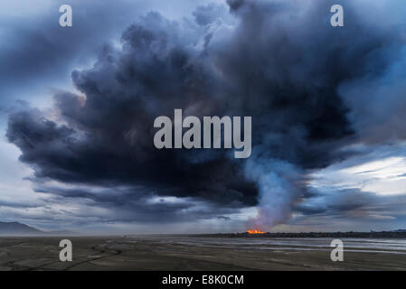 Volcanic Plumes with toxic gases, Holuhraun Fissure Eruption, Iceland. - Stock Photo